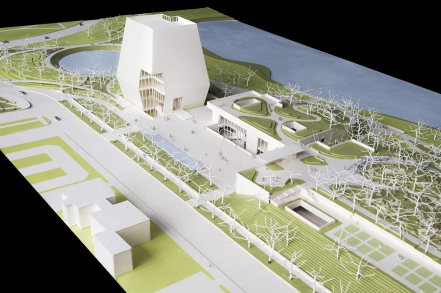 A model shows plans for the proposed Obama Presidential Center. This view looks north showing the museum, forum, and library. - OBAMA FOUNDATION VIA AP