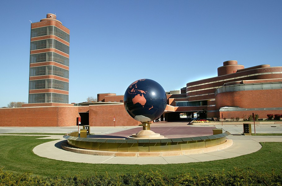 The SC Johnson campus, with the Research Tower on the left and the Administration Building on the right