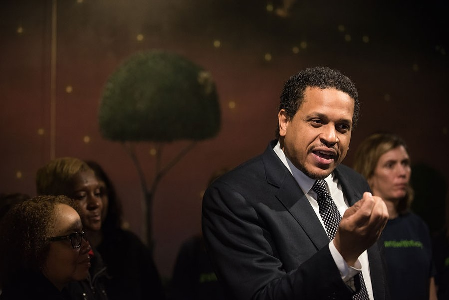 Troy LaRaviere speaks about his removal as principal from Blaine Elementary at a press conference at Wishbone North in 2016. - MAX HERMAN FOR SUN-TIMES MEDIA