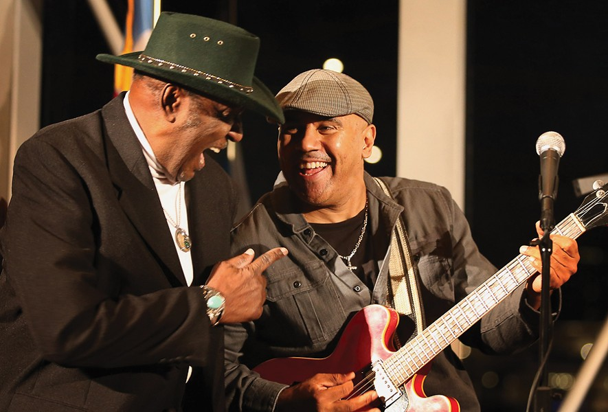 "Ronnie Baker Brooks (right) and Eddy ""the Chief"" Clearwater at Pritzker Pavilion in 2012 for a Kennedy Center Honors send-off for Buddy Guy - SCOTT OLSON/GETTY IMAGES"