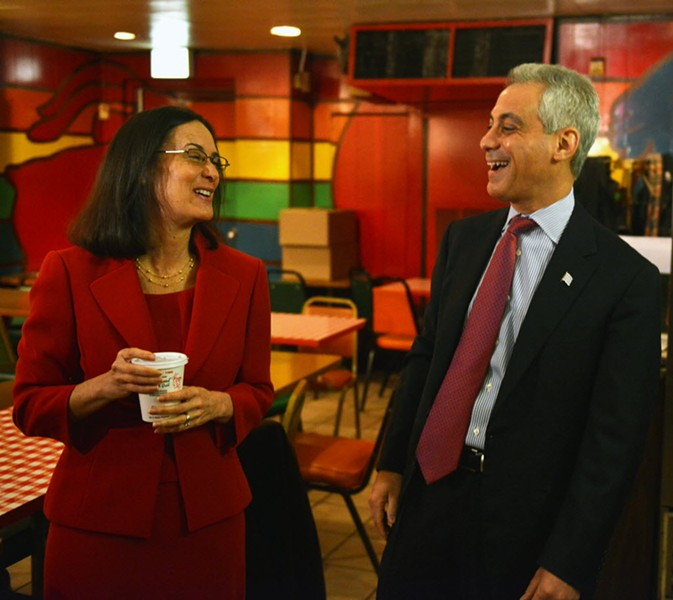 Mayor Rahm Emanuel and Illinois attorney general Lisa Madigan in 2014 - AL PODGORSKI/CHICAGO SUN-TIMES