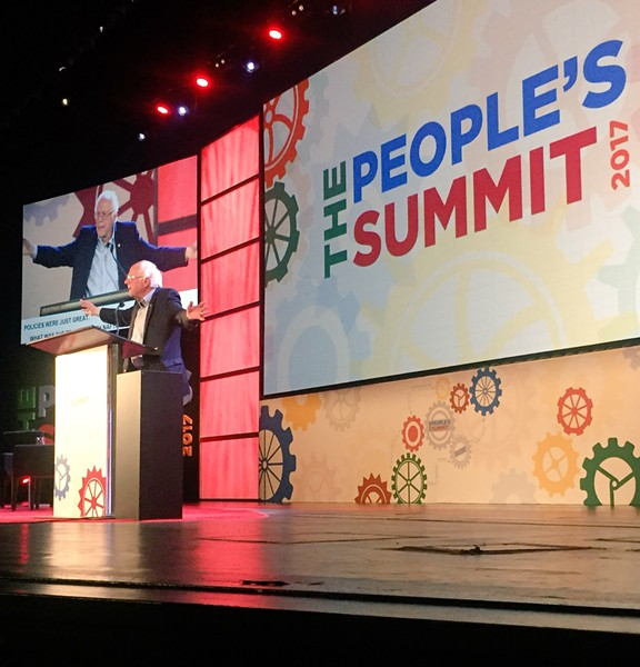 Bernie Sanders speaks at the People's Summit 2017 in Chicago. - RYAN SMITH