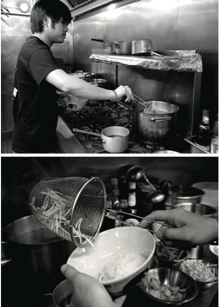 Dew Suriyawan prepares boat noodles at Immm Rice & Beyond in Uptown. - COURTESY DILL MAGAZINE