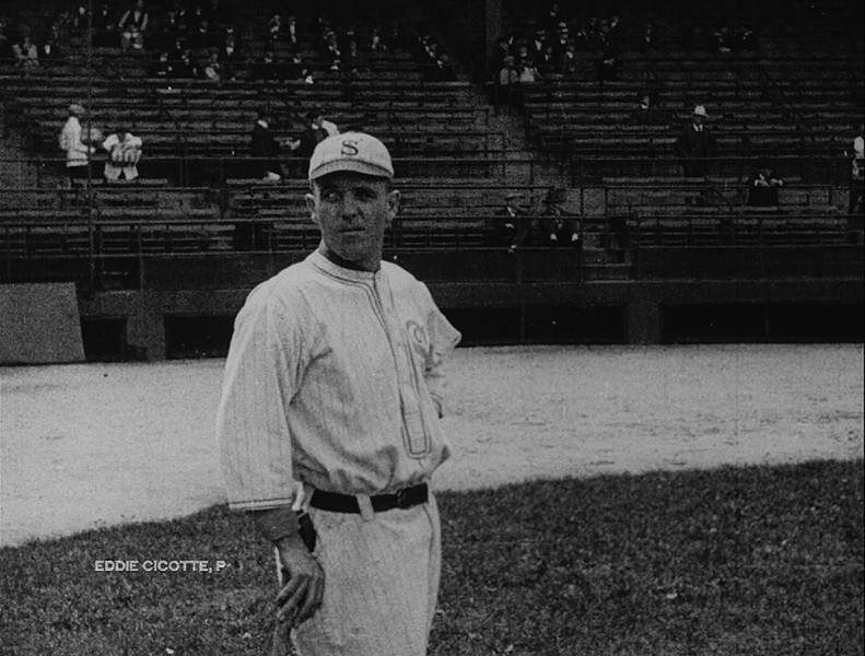 White Sox pitcher Eddie Cicotte, filmed during the 1919 World Series by a cameraman for British Canadian Pathé News. The footage was Morrison's most spectacular find as he investigated the Dawson City collection.