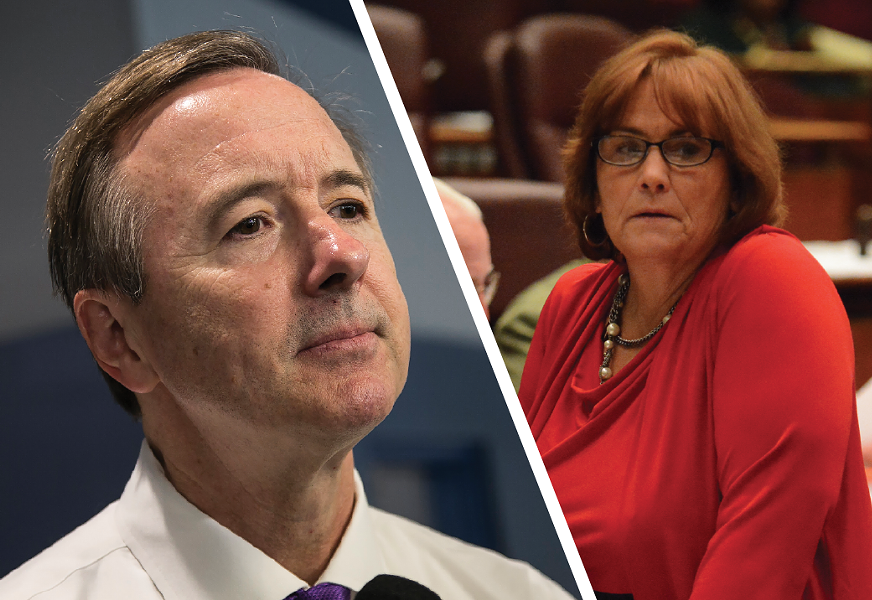 CPS CEO Forrest Claypool essentially called Tenth Ward alderman Susan Sadlowski Garza a liar during a closed-door meeting about school finances. - ASHLEE REZIN/SUN-TIMES; BRIAN JACKSON/SUN-TIMES MEDIA