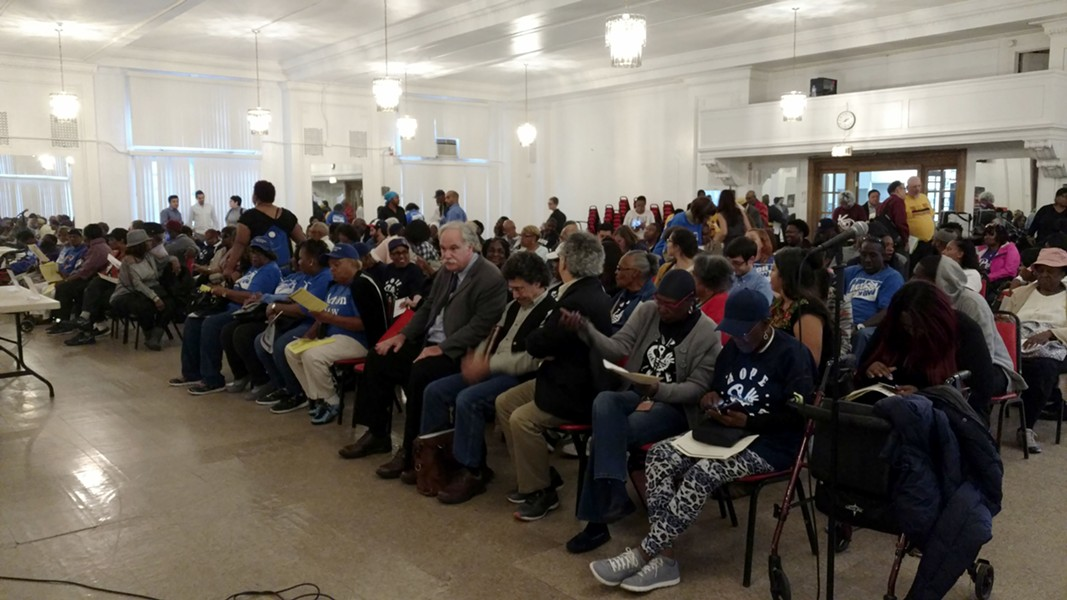 Attendees gathered at Mount Pisgah Baptist Church in Bronzeville last Thursday for an educational event on rent control. - MAYA DUKMASOVA