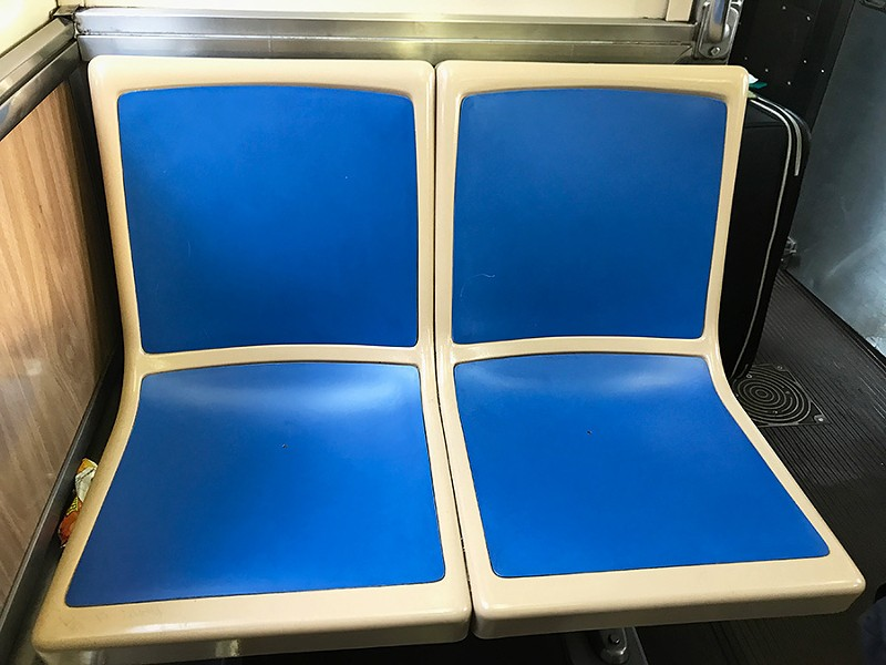 The Chicago Transit Authority is pilot testing hardback seat inserts on select trains and buses. - JOHN GREENFIELD