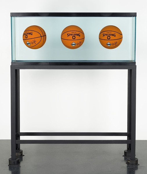 """Jeff Koons, Three Ball Total Equilibrium Tank (Dr. JK Silver Series), 1985, on display as part of """"Heaven and Earth"""" at the Museum of Contemporary Art - NATHAN KEAY, MUSEUM OF CONTEMPORARY ART"""