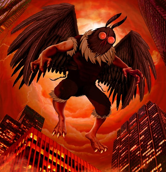 Some reports of the Chicago Mothman make it sound more like a huge bat or owl, but everyone is pretty sure about the wings. - ILLUSTRATION BY JEFF DREW