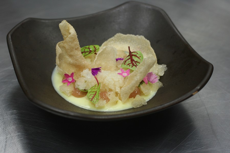 "In preparing a ""pre-dessert,"" Hanbun chef David Park started with a white chocolate cremeux (a French custard) and then added yuzu kosho to every other element. - JULIA THIEL"