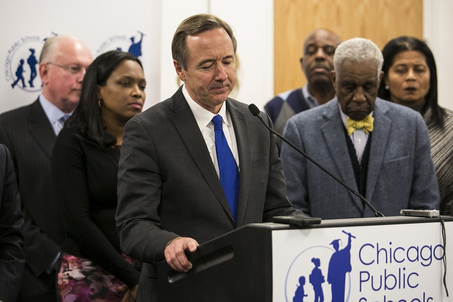 Chicago Public Schools chief executive officer Forrest Claypool tenders his resignation during a press conference at CPS headquarters Friday. - ASHLEE REZIN/CHICAGO SUN-TIMES VIA AP