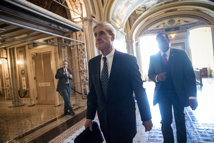 Special counsel Robert Mueller departs after a June 2017 closed-door meeting with members of the Senate Judiciary Committee about Russian meddling in the election and possible connections to the Trump campaign. - AP PHOTO/J. SCOTT APPLEWHITE, FILE