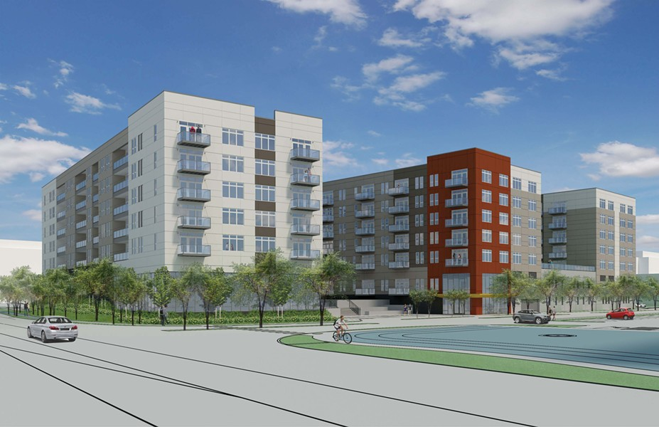 "Rendering of the proposed apartment building at 8535 W. Higgins Road. It would've been mostly luxury ""micro units,"" but also include 30 affordable apartments. - COURTESY OF GLENSTAR"