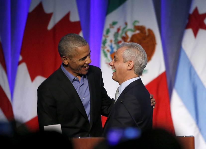 Former president Barack Obama shares a laugh with Mayor Rahm Emanuel in December 2017. - AP PHOTO/CHARLES REX ARBOGAST