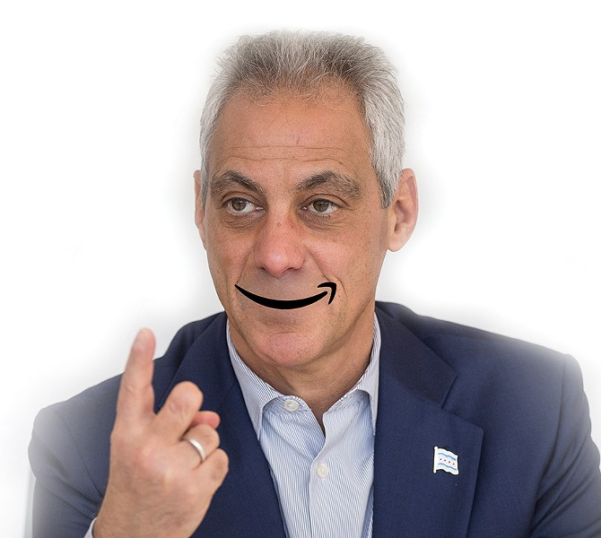 Chicago making Amazon's HQ2 short list makes Rahm smile. - READER ILLUSTRATION; PHOTO BY RICH HEIN/SUN-TIMES