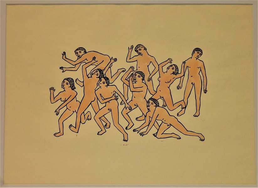 Dante's Hell: Figures, linoleum print with watercolor, 1920s - OTTO NEUMANN