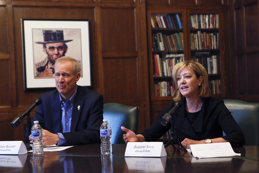 Governor Bruce Rauner and state rep Jeanne Ives, his challenger in the Republican primary, meet with the Chicago Tribune Editorial Board at Tribune Tower. - JOSE M. OSORIO/CHICAGO TRIBUNE VIA AP
