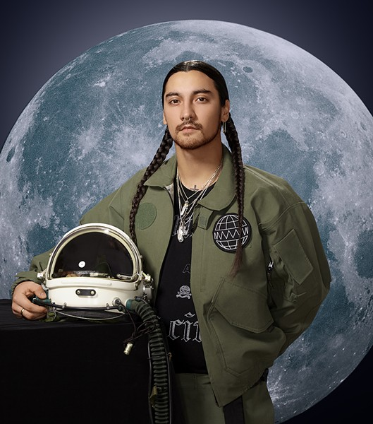 Towkio couldn't bring the same helmet to the photo shoot that he wore to the stratosphere, but this one looks pretty similar. - LISA PREDKO