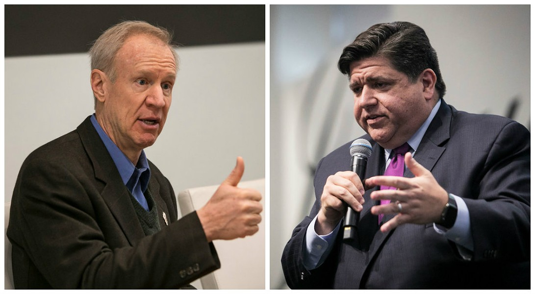 Billionaires Bruce Rauner and J.B. Pritzker's taxes would go up, up, up under a progressive income tax. - SUN-TIMES PHOTOS BY RICH HEIN, ASHLEE REZIN