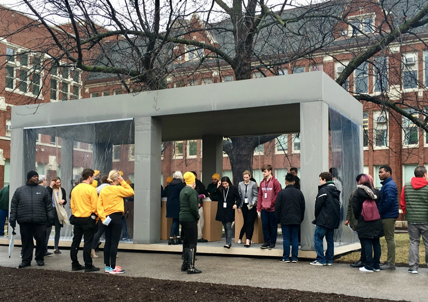 Tiny Apple stores were erected on the front lawn of Lane Tech High School during Tuesday's announcement. - MITCH DUDEK/SUN-TIMES