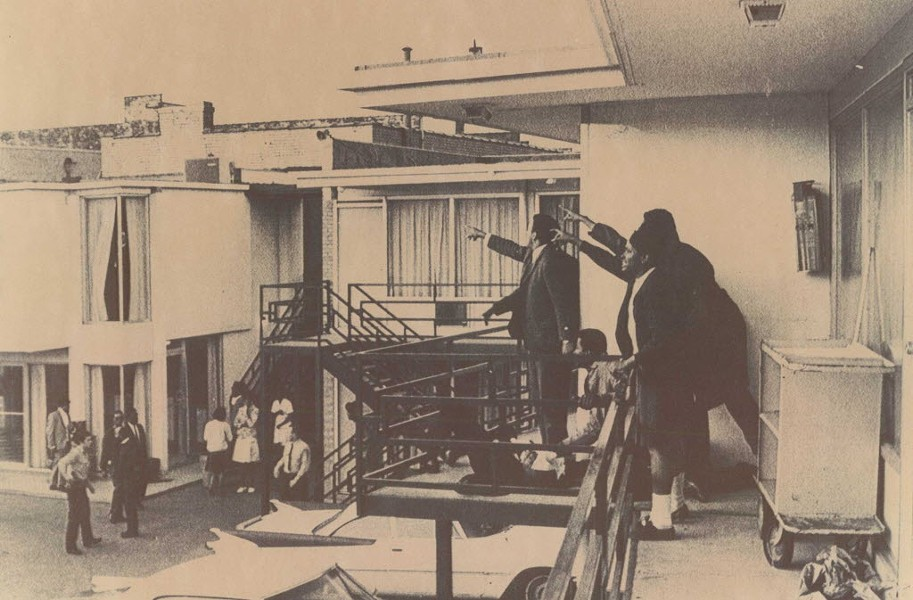 In this photo taken at the Lorraine Motel in 1978, King's aides point in the direction from which they believe the assassin's bullet came from. - SUN-TIMES PRINT COLLECTION