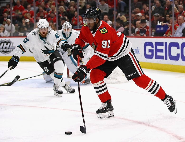 Anthony Duclair, the lone black player on the Blackhawks - JONATHAN DANIEL
