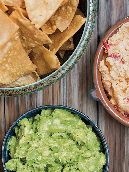 Masa chips, pimiento dip, and Avocado Smash from the Gather & Graze cookbook - GALDONES PHOTOGRAPHY