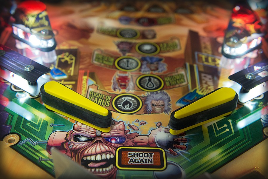 A close look at the flippers of the Iron Maiden game before the playfield glass is installed - JAMIE RAMSAY