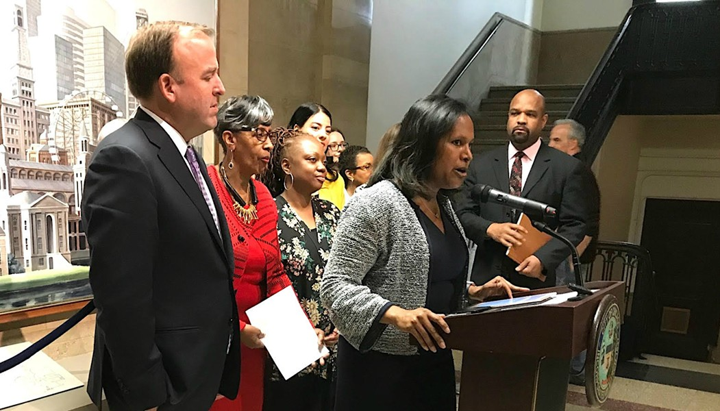 Aldermen Brendan Reilly and Sophia King announce plans to introduce an ordinance changing the name of Balbo Drive to Ida B. Wells Drive. - JOHN GREENFIELD