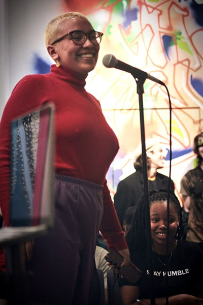 """Tati performing her song """"Better"""" at Young Chicago Authors' WordPlay open mike - MELVYN WINDMON"""