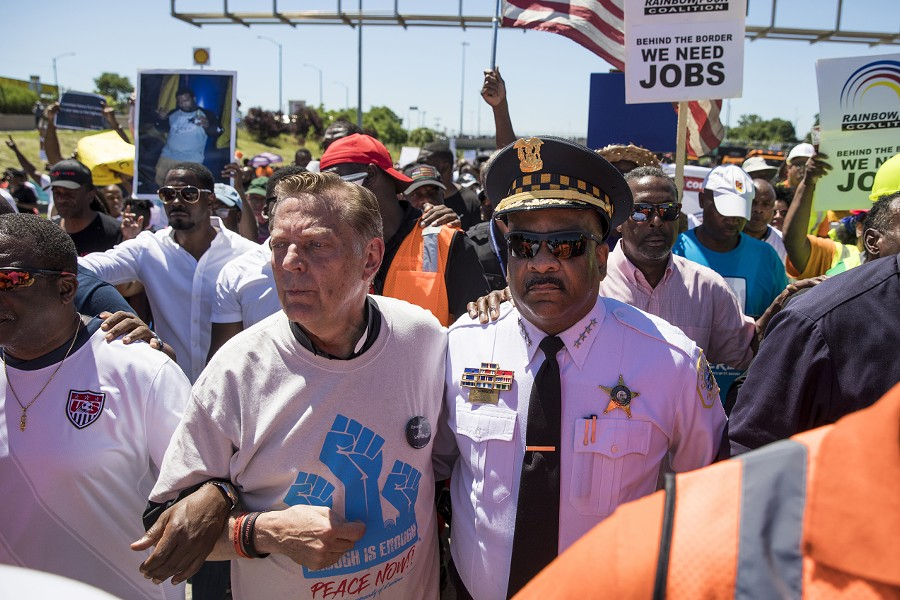 Father Michael Pfleger and Chicago police superintendent Eddie Johnson at the protest that shut down the Dan Ryan last Saturday. - ASHLEE REZIN/SUN-TIMES