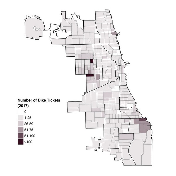 The maps show the number of tickets written for biking on the sidewalk, by Chicago Police beat - CHICAGO POLICE