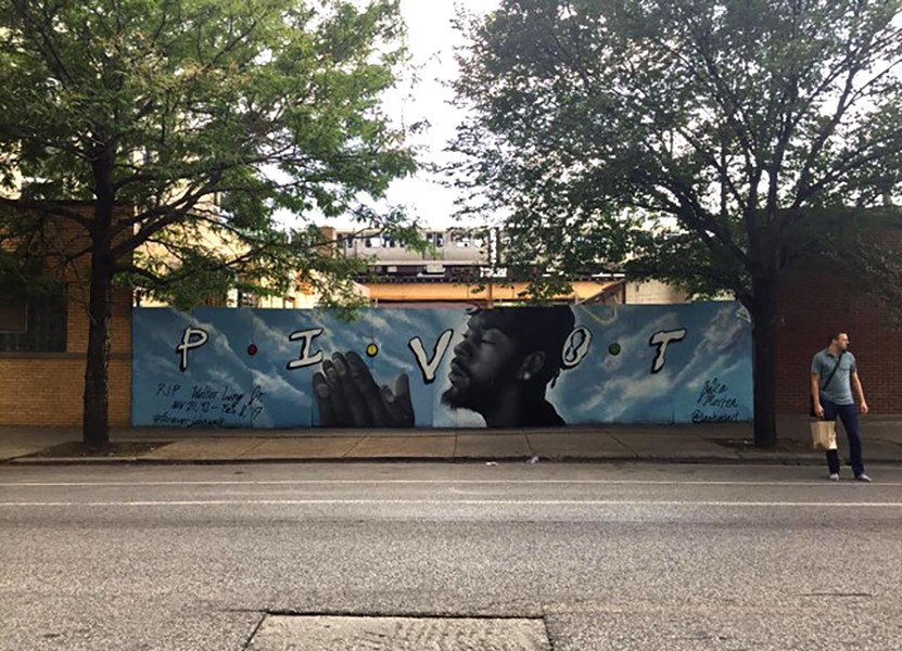 This John Walt memorial mural, by artist Jake Merten, went up in August 2017 near Milwaukee and Attrill in Logan Square, across from the L Apartments. It had been covered up by October. - COURTESY OF NACHELLE PUGH