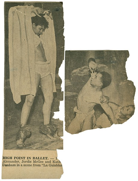 A newspaper clipping shows Katherine Dunham in the title role of La Guiablesse, likely in 1934. - COURTESY NEWBERRY LIBRARY