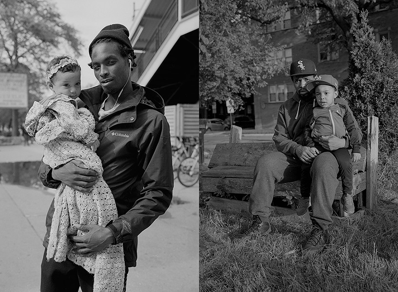 Edward and Julissa out for a stroll in Woodlawn (left) and Maxwell and Maxwell Jr. enjoying some quality time in a park in Woodlawn (right) - W.D. FLOYD