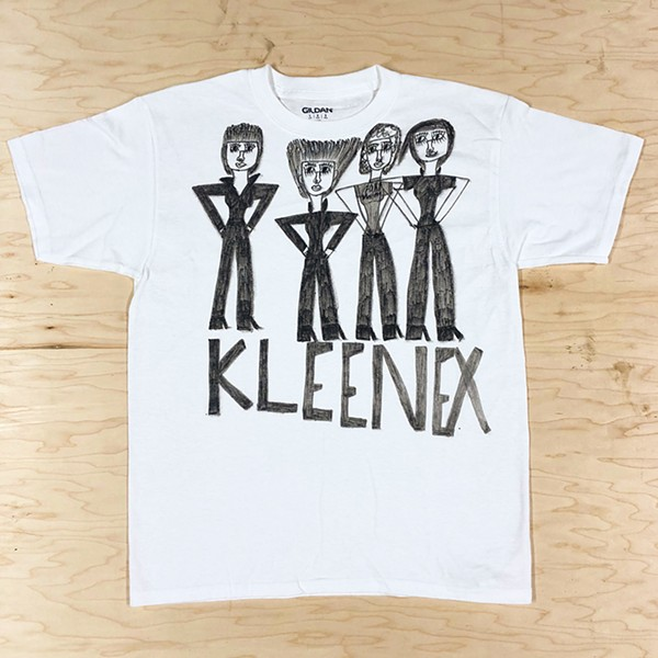 Jennifer Williams drew this T-shirt of defunct Swiss postpunk band Kleenex. - JENNIFER WILLIAMS