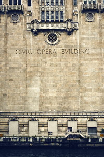 Civic Opera across from the Ogilvie and Union Station stop.  According to Senior Deck Hand Dave Ling, there are 75 singing faces on the river side of the building. - MAX THOMSEN