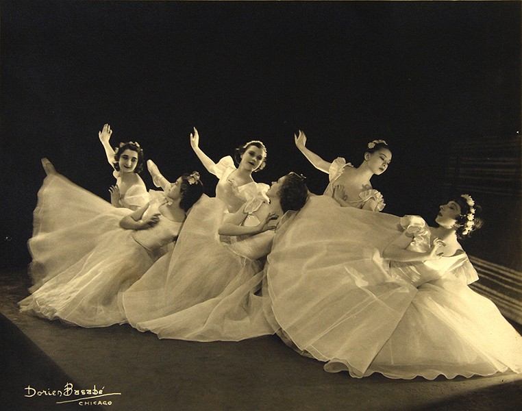 Berenice Holmes's student troupe circa 1930.  Sono Osato is on the right in the back row; Ann Barzel is on the right in the front row. - BERTRAM DORIEN BASABE