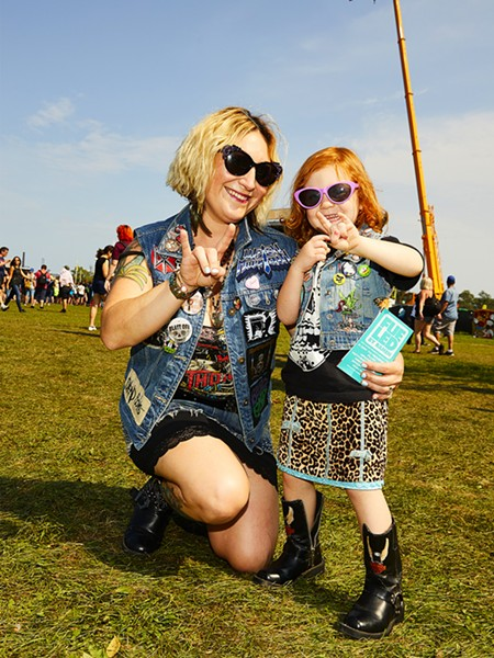 Tara and Erin Maiden.  This year was Erin Maiden's fifth year at Riot Fest, and she is four years old (the first was in utero). Tara has been attending for ten years. - RYAN SEGEDI