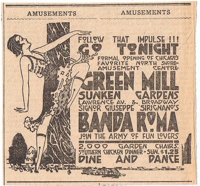 "A 1917 ad for the Green Mill. Committee of Fifteen investigators found the dancing at the club to be ""highly suggestive,"" noting ""many women were smoking."" - UPTOWNHISTORY.COMPASSROSE.ORG"