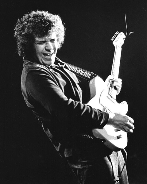 Michael Bloomfield in February 1973, performing during an opening set for a reunion of the Paul Butterfield Blues Band at the Winterland Ballroom in San Francisco - PHOTO BY JONATHAN PERRY / COURTESY UNIVERSITY OF TEXAS PRESS