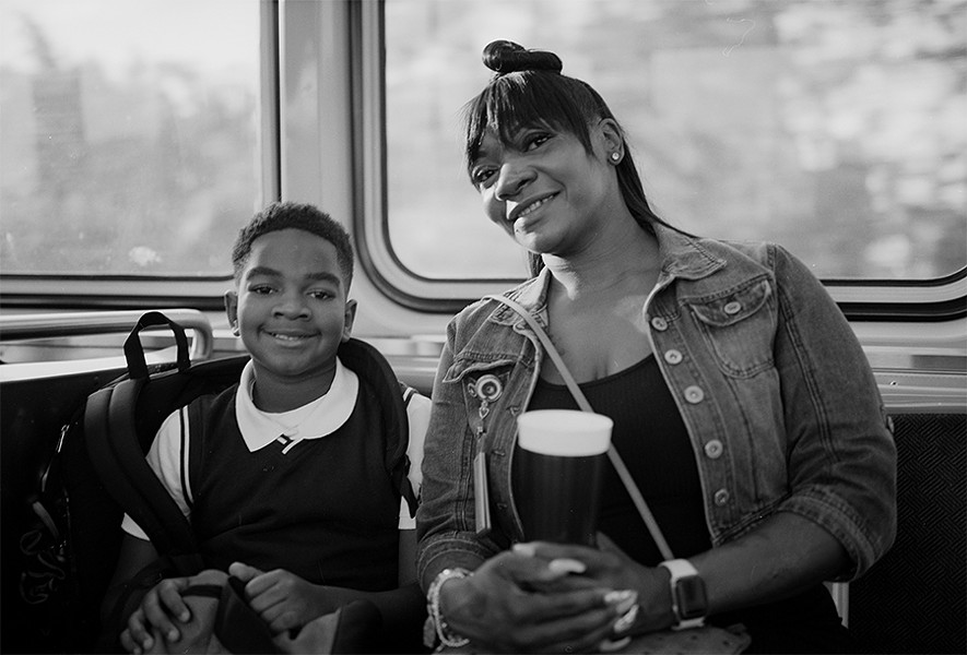 Aaronickka Bell with her son Adonis on their way to school - W.D. FLOYD FOR CHICAGO READER