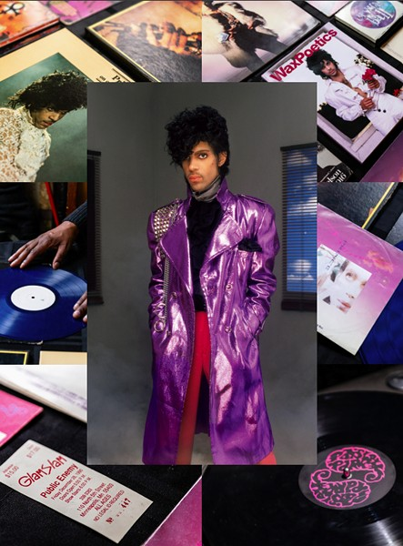 Prince in 1982, surrounded by rare releases and ephemera from the extensive Prince collection of Chicago house producer Melvin OliphantIII, aka Traxx - ALLEN BEAULIEU/RHINO; RYAN EDMUND FOR CHICAGO READER