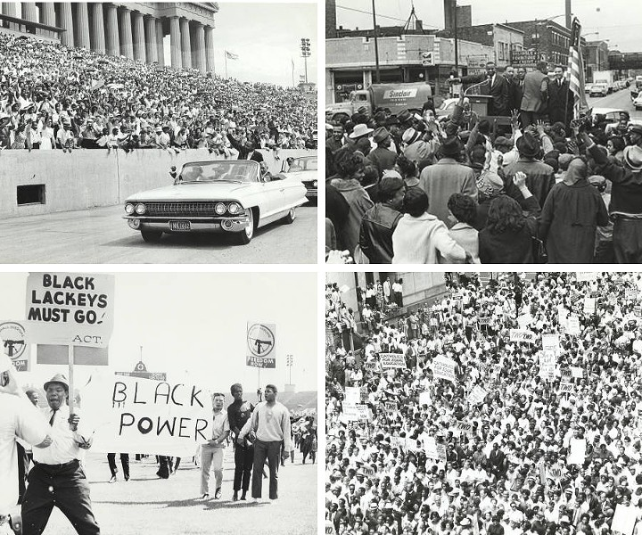 Martin Luther King Jr. at the Chicago Freedom Movement Rally in Soldier Field; Martin Luther King, Jr. and Bernard LaFayette at street rally; Black Power movement at the Chicago Freedom Movement Rally at Soldier Field; Aerial view of a large crowd at a rally. - FROM THE CHICAGO URBAN LEAGUE PHOTOS COLLECTION, THE UNIVERSITY OF ILLINOIS AT CHICAGO SPECIAL COLLECTIONS AND ARCHIVES