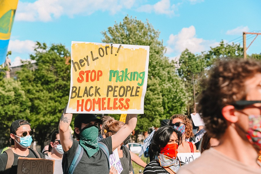 """A protest march at """"Lightfoot's Tent City"""" - HANNAH LINSKY"""