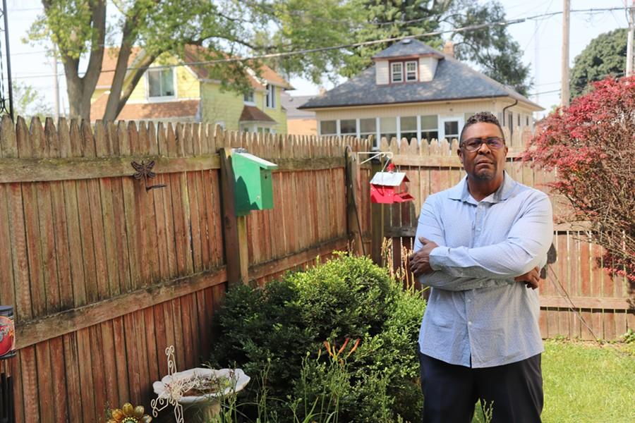 Tim Thompkins stands in his backyard in Kenosha on Wednesday, August 26, 2020, less than two miles away from where three protestors were shot the night before. - ADAM MAHONEY / INJUSTICE WATCH