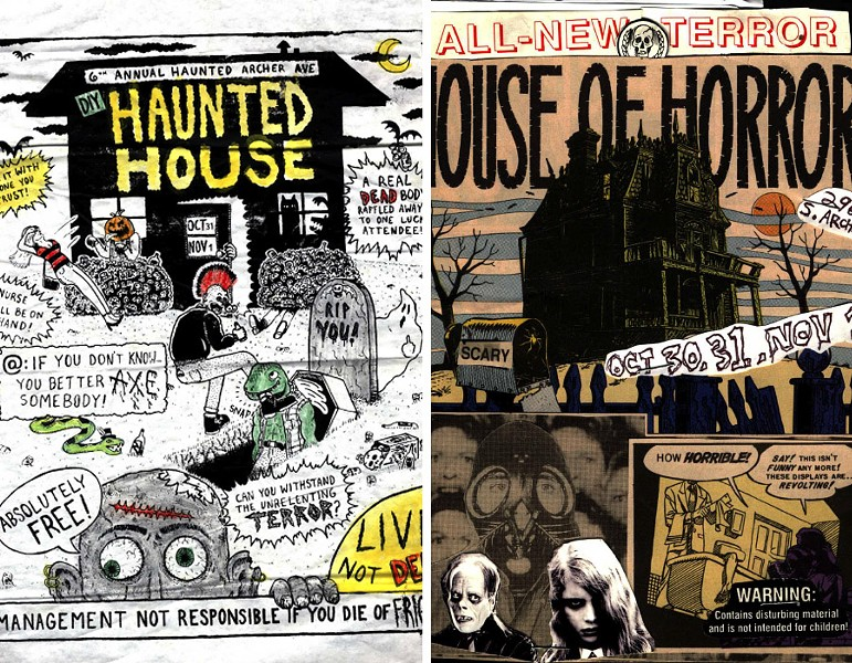 Posters promoting the sixth and second annual haunted houses at Rancho Huevos - ART BY SAM NIGROSH (LEFT) AND JOSH PIOTROWSKI