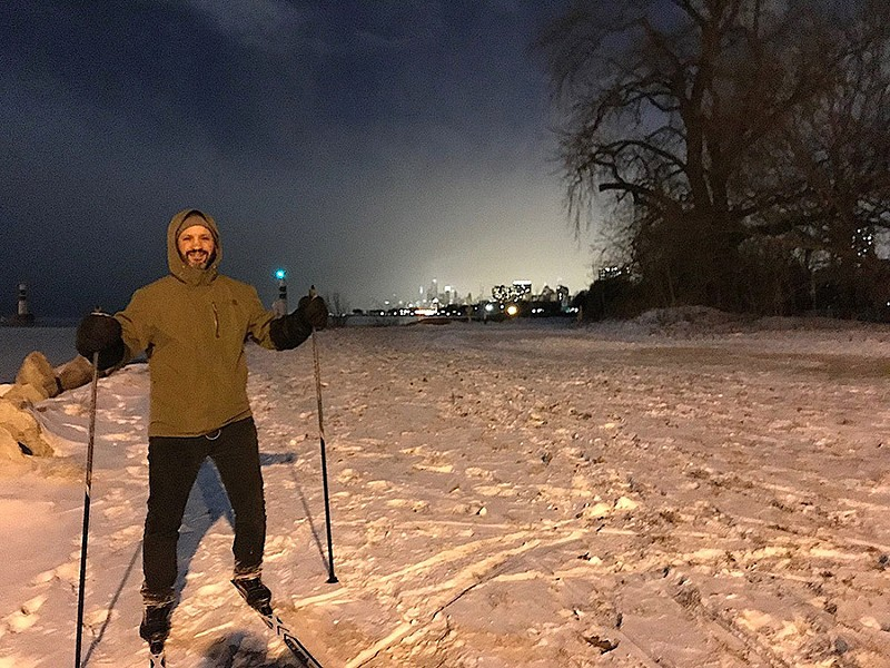 The author skiing at Montrose Harbor - MARK PAYE