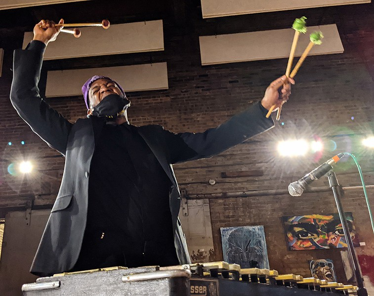 Thaddeus Tukes leads the Chicago Freedom Ensemble from behind his vibraphone during their October 26 livestream concert at Fulton Street Collective. - RAVEN GEARY FOR CHICAGO READER