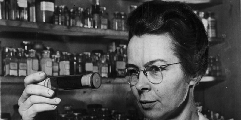 """A vintage photo from 1941 with the vintage caption """"Katharine Blodgett, one of the world's few 'big-shot' woman scientists."""""""